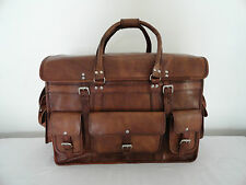 "LARGE 22"" Large Real Leather Travel Duffle Bag Handbag Luggage Bag Hold-all Bag"