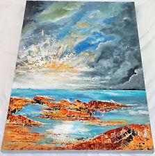 Original Seascape Art 'Sunburst' Acrylic On Canvass Painting Patricia May Clark