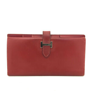 100% Authentic HERMES Bearn Red Box Calf Long Bifold Wallet /61024