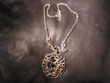 Fabulous Modernist Designer Solid Silver & Lapis Lazuli Pendant Necklace,Lon1975