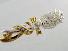 Damen Anhänger Rose Blume 925 Silber Gold vergoldet Zirkonia als Geschenk 3,5cm