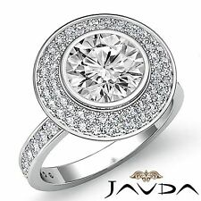 Classic Round Diamond Halo Bezel Engagement Ring GIA F SI1 14k White Gold 1.75ct