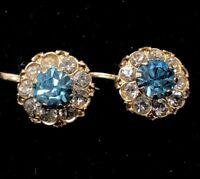 Vintage Sterling Silver Earrings 925 Gold Tone Screw Back Rhinestone Flower
