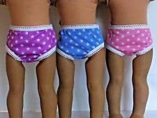"""Star Doll Underwear 3 Pair Fits 18"""" American Girl Doll Clothes"""