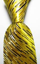 New Classic Striped Gold Yellow Brown JACQUARD WOVEN 100% Silk Men's Tie Necktie