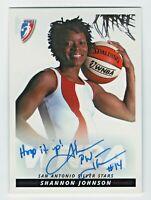 2005 WNBA Autograph #SJ2 Shannon Johnson Dress San Antonio Hoop It Up