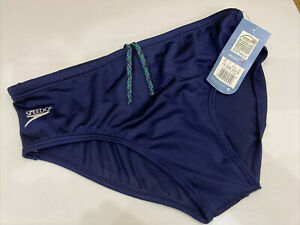 "Vintage Speedo Classic Active Brief Swimming Trunks Slip Mens Large 38"" D7 Blue"