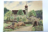 Gustav Müller Aquarell Erlingshofen mit Kirche Maimorgen 1940