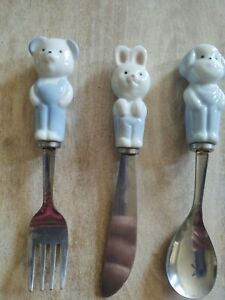 Vtg Child's silverware set spoon knife fork porcelain handles Dog Bunny Bear