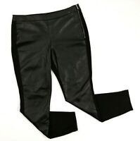 White House Black Market Faux Leather Panel Skinny Pants Women's 10 R Black WHBM