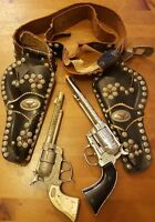 Vtg., Ric-O-Shay 45, Gene Autry 44 Cap Guns & Criss-cross Gunslinger Holster