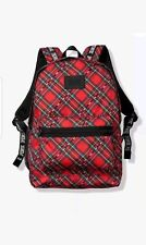Victorias Secret Pink Campus Backpack Red Plaid Holiday Print
