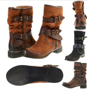 Retro Womens Low Heel Mid Calf Boots Buckle Round Toe Combat Riding Ladies Shoes
