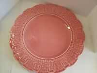 "Vintage Bordallo Pinheiro Grape Leaf Serving Plate/Platter approx 12 1/4""- Coral"