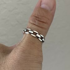 Sterling Silver Link Chain Ring, Stackable Ring, Silver Rings