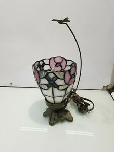 Small, Vintage, Tiffany Style Stained Glass Lamp, Leaded, Floral,butterfly 12""