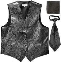 New Men's Paisley Tuxedo Vest Waistcoat & Ascot Cravat & Hankie Wedding Charcoal