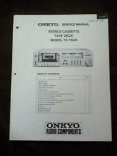 Onkyo Service Manual for the TA-1500 Cassette Tape Deck ~ Repair Manual