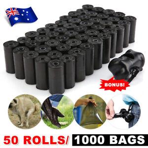1000 Dog Poop Bag Biodegradable Pet Poo Waste Disposable Black Bags + Dispenser