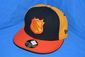 NHL HOCKEY VANCOUVER CANUCKS ORANGE YELLOW BLACK NEW ERA WOOL FITTED HAT 7 1/8