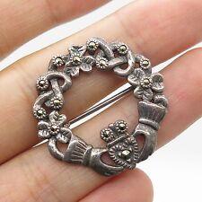 Vtg 925 Sterling Silver Real Marcasite Gemstone Irish Claddagh Pin Brooch