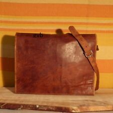 """15"""" Large Brown Leather Messenger Bag Shoulder Laptop Bag Briefcase Men Vintage"""