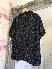 Pull And Bear Navy Aztek Bold Fun Party Short Sleeve Breathable Shirt XL