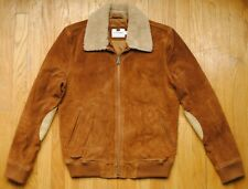 Topman Suede Aviator Bomber Jacket in Brown Size Small Elbow Patches