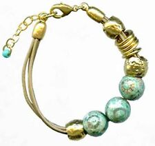 White Leather W Yellow Gold 24K Plated Evil Eye Turquoise Agate Beads Bracelet
