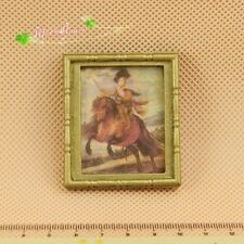 1/12 Dollhouse Miniature Vintage 19th century fresco brass frame picture/photo