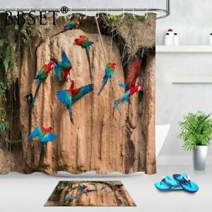 Bird Tropical Parrot In The Jungle Pattern Waterproof Bathroom Shower Curtain