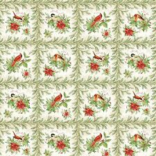 "Fabric Christmas Songbirds on Cotton Panel 20""x42"""