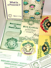 CABBAGE PATCH KIDS Preemie 1984 BIRTH CERTIFICATE ADOPTION PAPER DIAPER Coleco