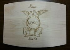 Personalized Maple Cutting Board Love Birds Dove for wedding anniversary gift