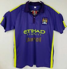 Sport Wear Men's Soccer Jersey Large MCFC Etihad Airways Purple