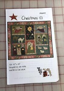 """""""Christmas 101"""" by Jan Patek, Appliqué Quilt Pattern 42"""" x 36"""""""