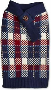 NEW! Bond & Co. Red and Blue Scarf Dog Sweater: Medium