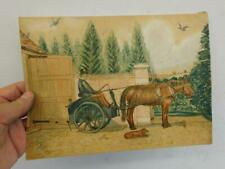 really old painting drawing of HORSE AND CART signed 1875