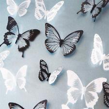 18 Stk Wandtattoo Wandaufkleber Sticker 3D Schmetterling Dekor Schwarz Weiß