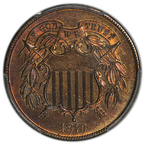 1873 2C Two Cents Closed 3 PCGS PR65RB (CAC)