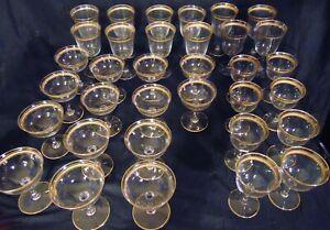 34 Set Stemware Gold Encrusted Crystal Cut Elegant Glass Wine Champagne Stems