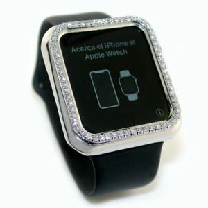 2.00 TCW Round Diamonds Apple Watch iWatch 44mm Case In Solid 18k White Gold