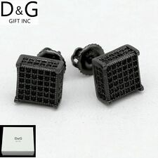 Dg Men Sterling Silver 925.Black Iced-Out Cz 8mm Square Studs*Earring.Unisex-Box
