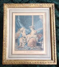 "Antique Jean-Baptiste Huet Louis Marin Bonnet Frame French Maternel Etching 15""T"
