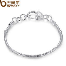 Bamoer Fit European Charm Bead Jewelry Silver Snake Chain Bracelet Heart Buckle