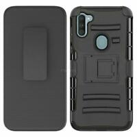 For Samsung Galaxy A21 Black Kickstand Holster Belt Clip Case +Screen Protector