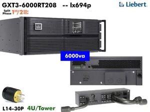lx694p ~ Liebert GXT3 Online 6000va UPS 120/208 - 240v GXT3-6000RT208 #NewBatts