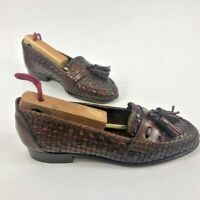 Cole Haan Women's Made in Italy Woven Tassel Loafers Brown Size 4B w/ Shoe Trees