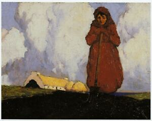 Solitary Digger Achill Paul Henry print in 11 x 14 inch mount ready to frame
