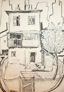 Vintage ink painting house